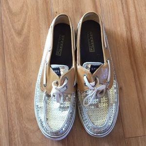 Sperry Topsider sequin gold boat shoes size 9
